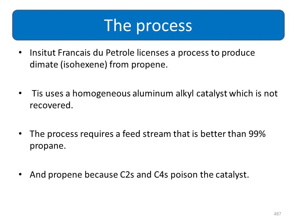 The process Insitut Francais du Petrole licenses a process to produce dimate (isohexene) from propene.