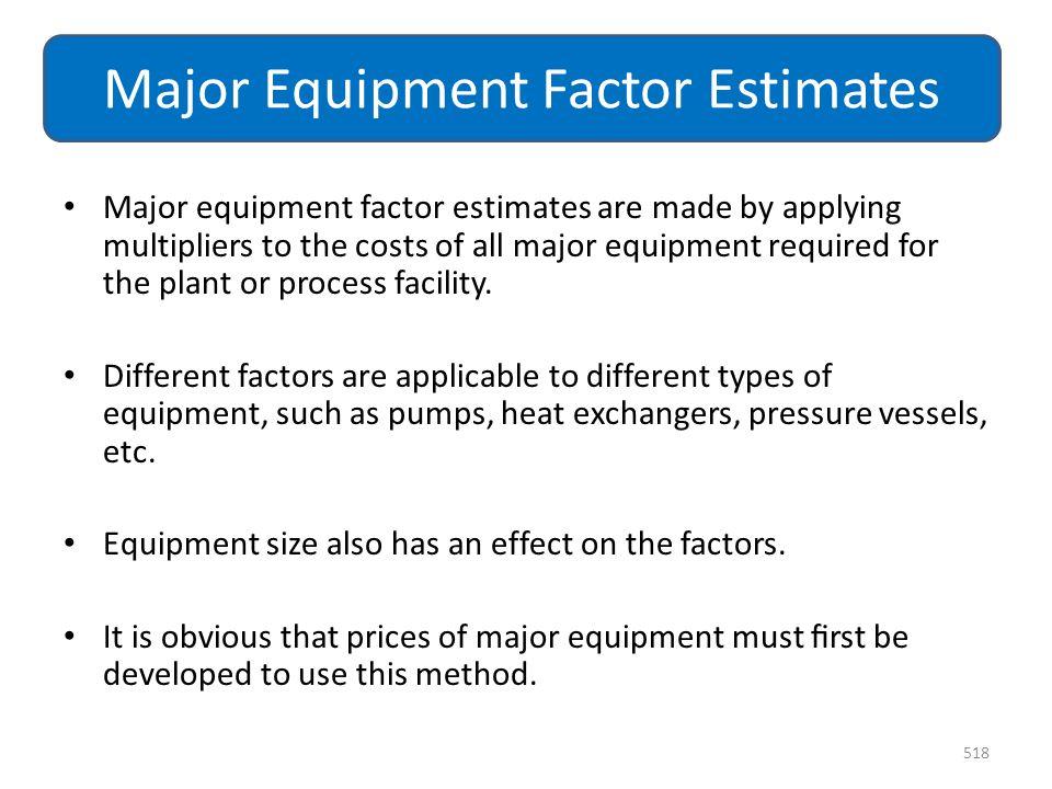 Major Equipment Factor Estimates