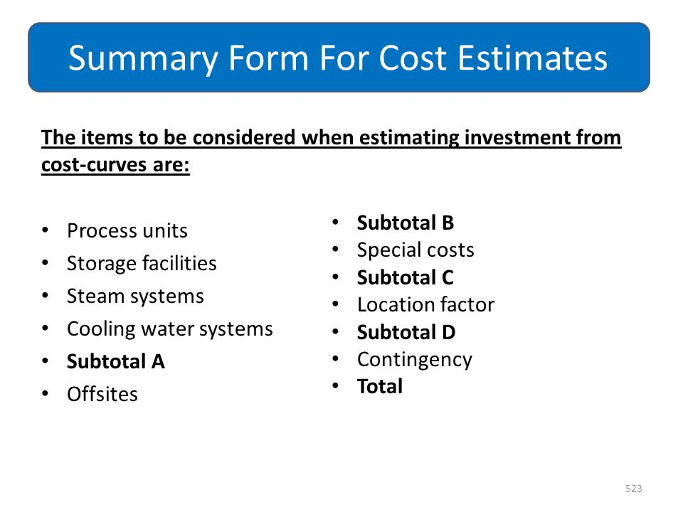 Summary Form For Cost Estimates