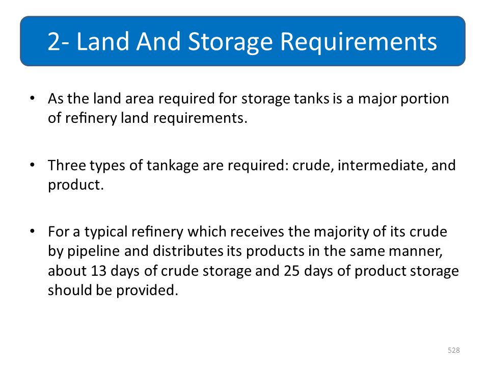 2- Land And Storage Requirements