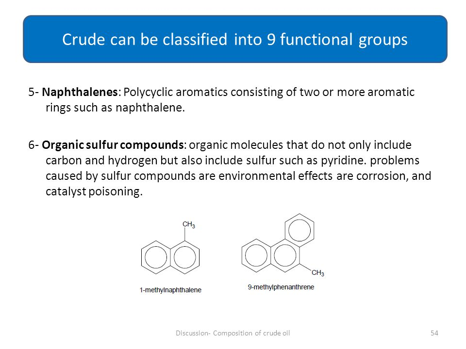 Crude can be classified into 9 functional groups