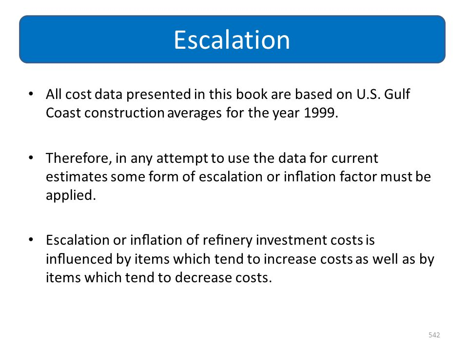 Escalation All cost data presented in this book are based on U.S. Gulf Coast construction averages for the year 1999.