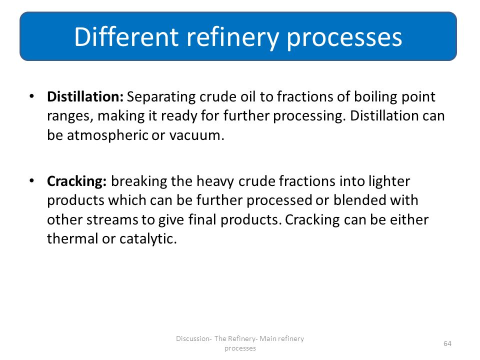 Different refinery processes