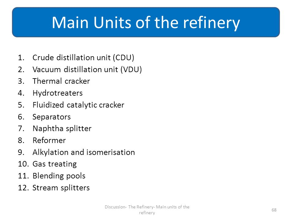 Main Units of the refinery