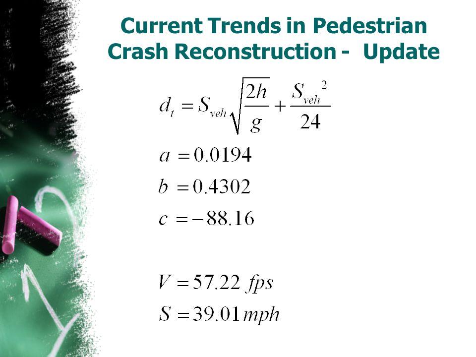 Current Trends in Pedestrian Crash Reconstruction - Update