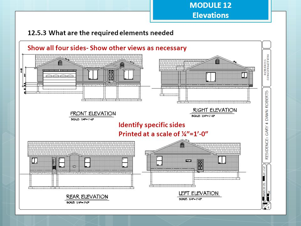 MODULE 12 Elevations 12.5.3 What are the required elements needed