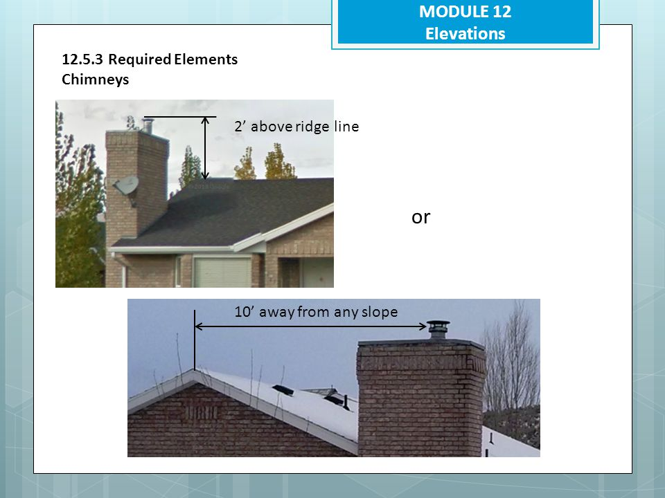 or MODULE 12 Elevations 12.5.3 Required Elements Chimneys