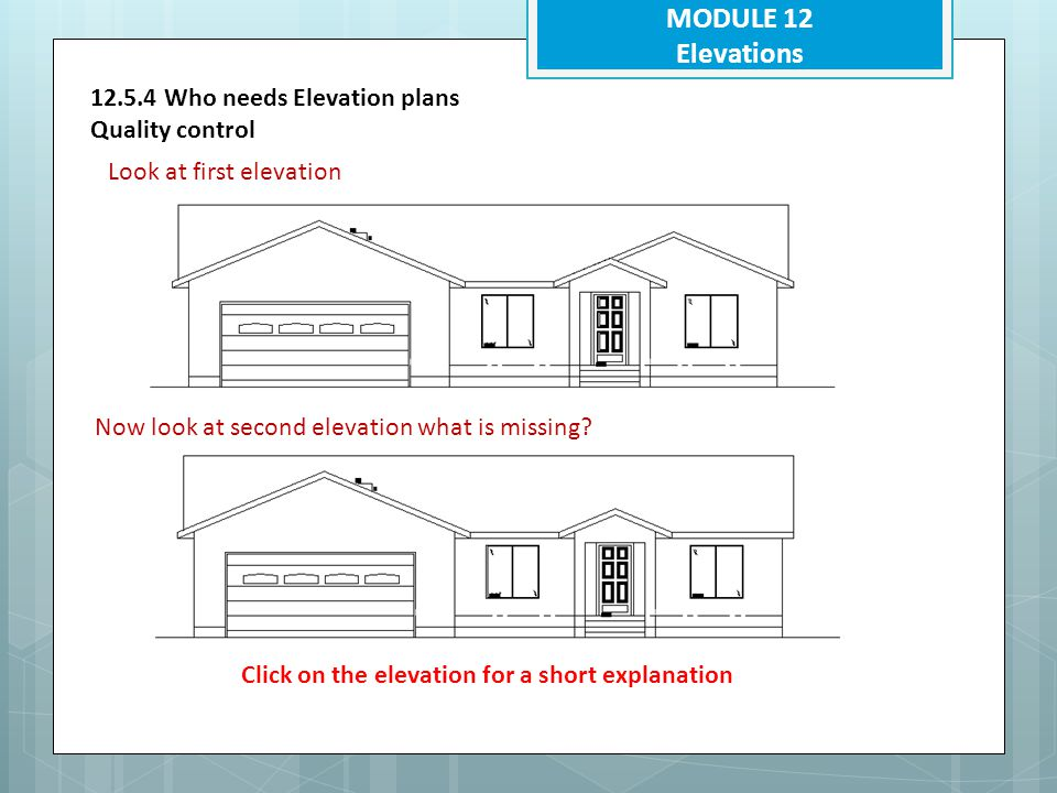 MODULE 12 Elevations 12.5.4 Who needs Elevation plans Quality control