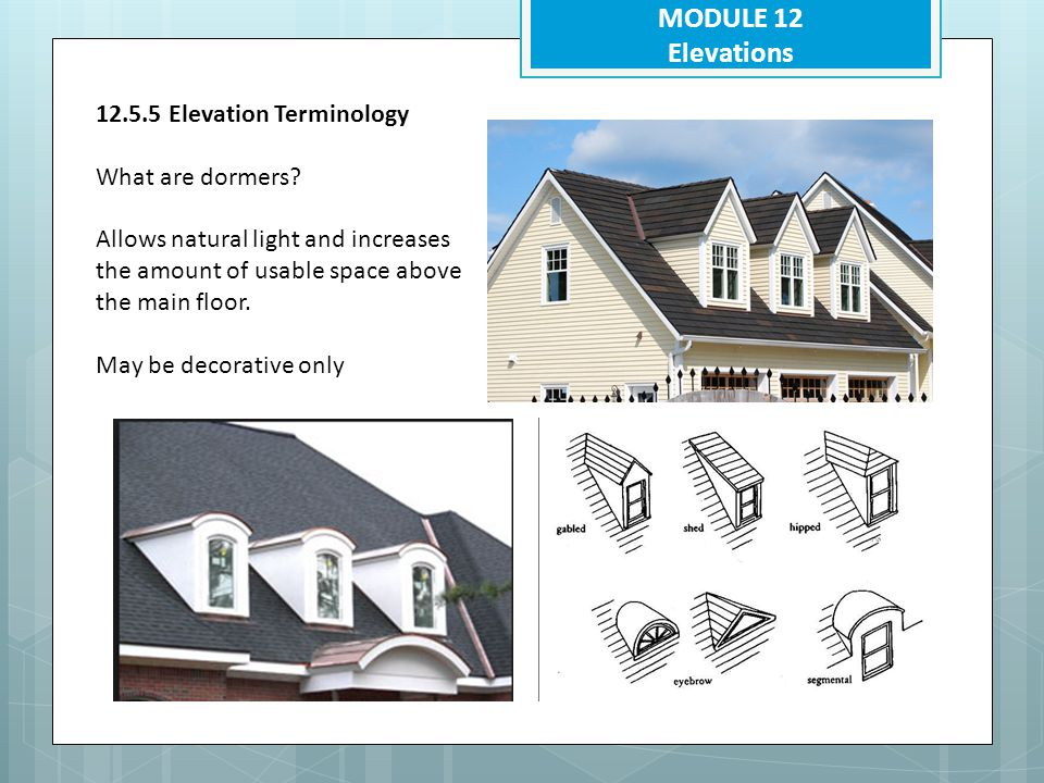 MODULE 12 Elevations 12.5.5 Elevation Terminology What are dormers