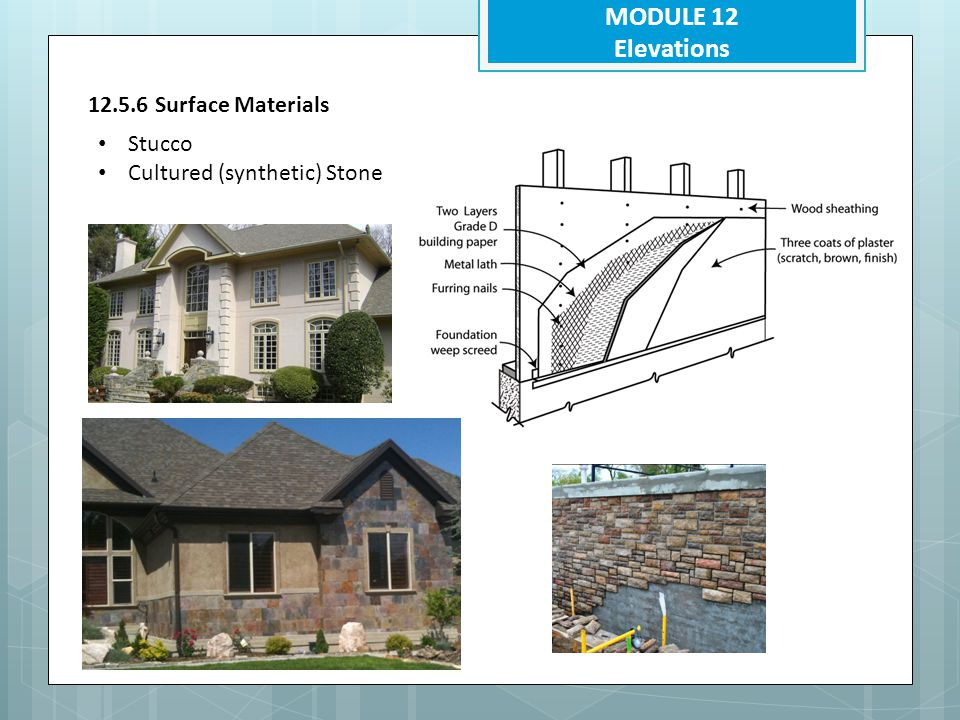 MODULE 12 Elevations 12.5.6 Surface Materials Stucco