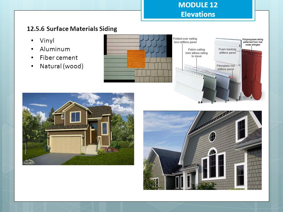 MODULE 12 Elevations 12.5.6 Surface Materials Siding Vinyl Aluminum