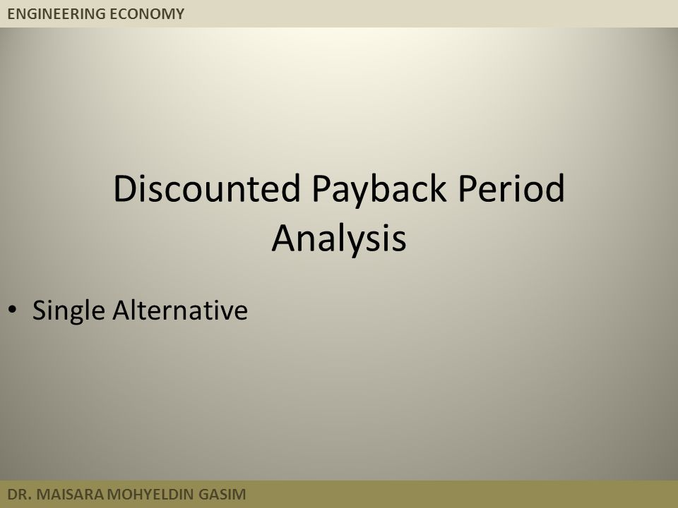 Discounted Payback Period Analysis