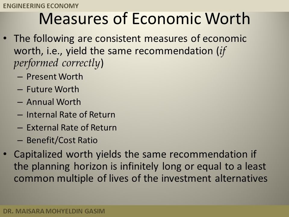 Measures of Economic Worth