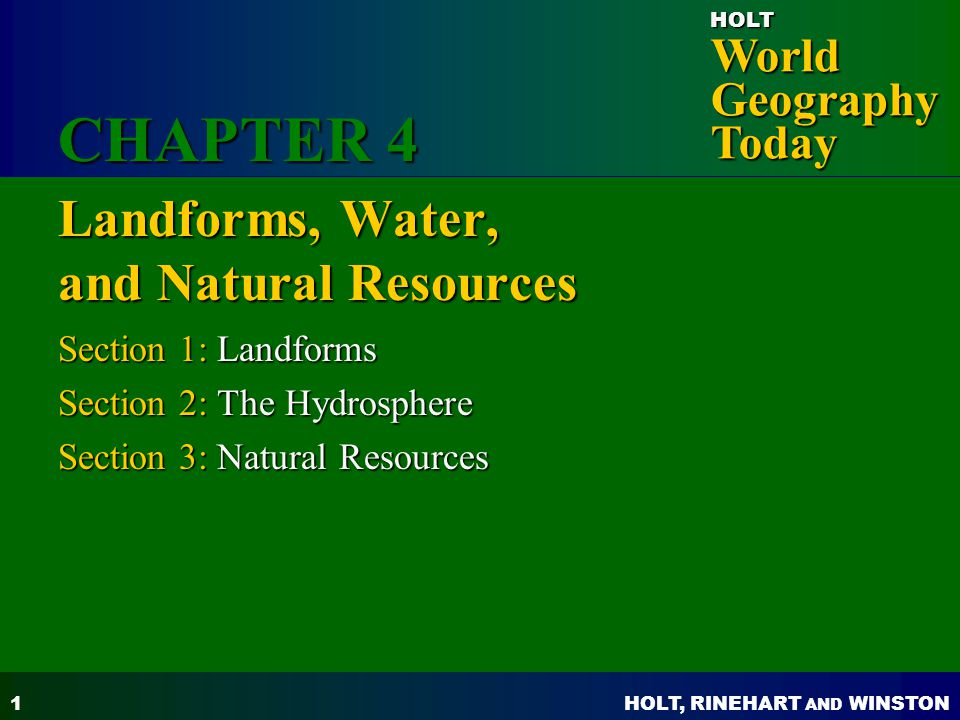 Landforms, Water, and Natural Resources