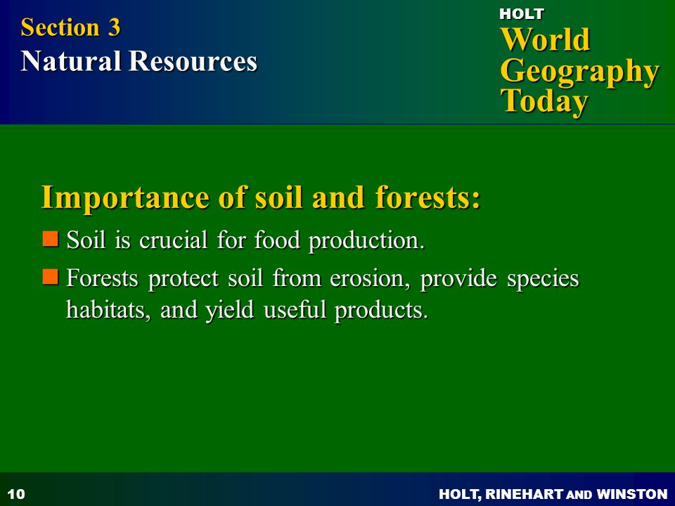 Importance of soil and forests: