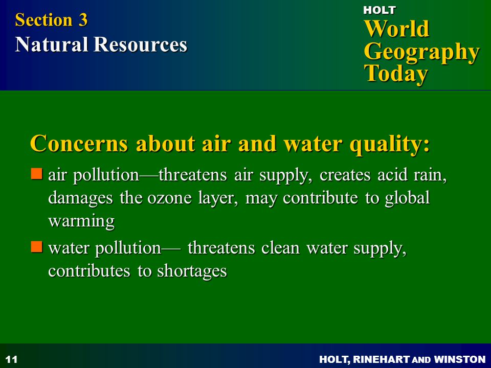 Concerns about air and water quality: