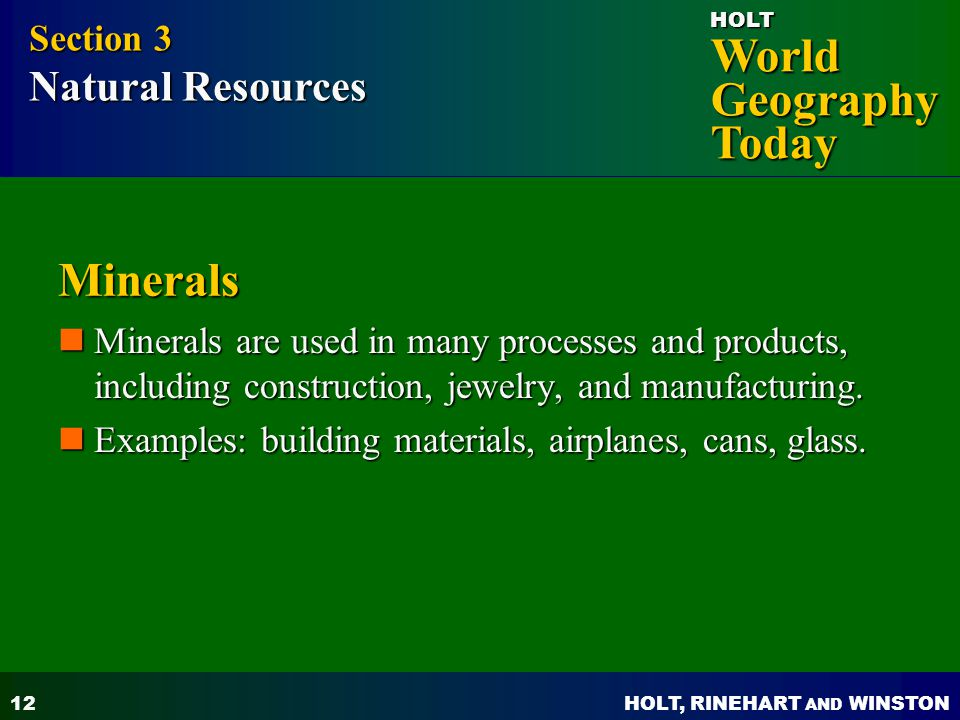 Minerals Section 3 Natural Resources