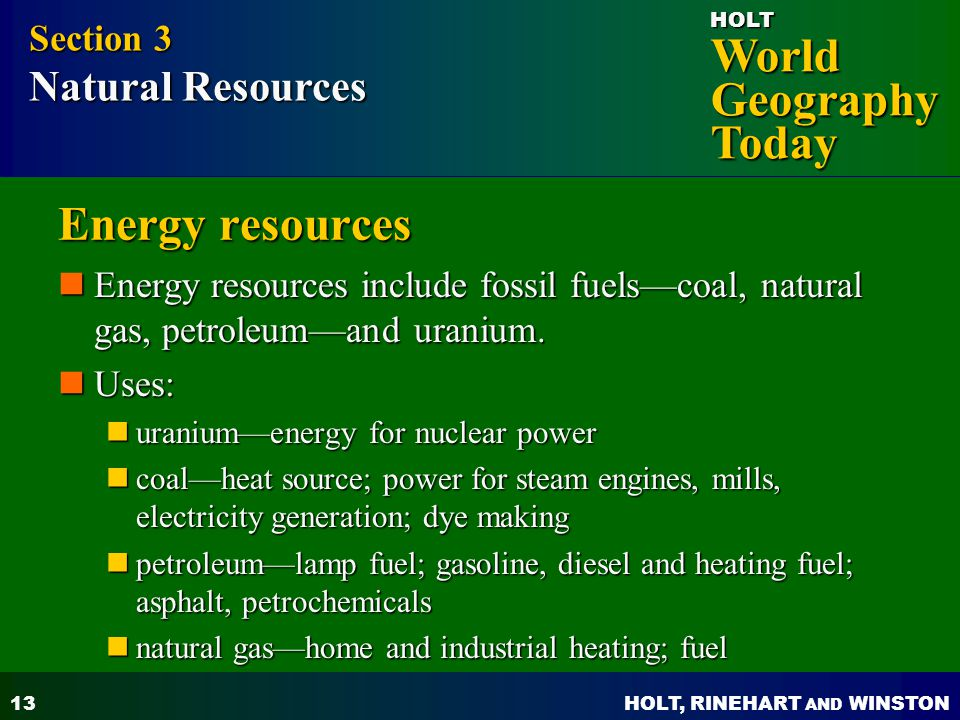 Energy resources Section 3 Natural Resources