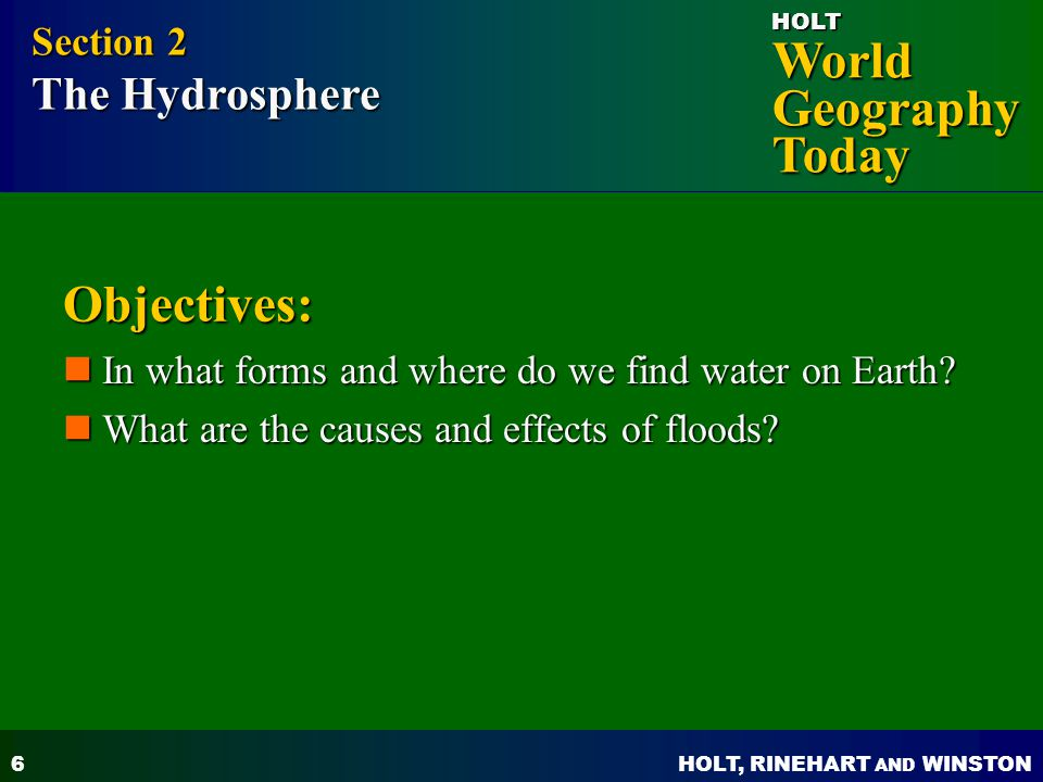 Objectives: Section 2 The Hydrosphere