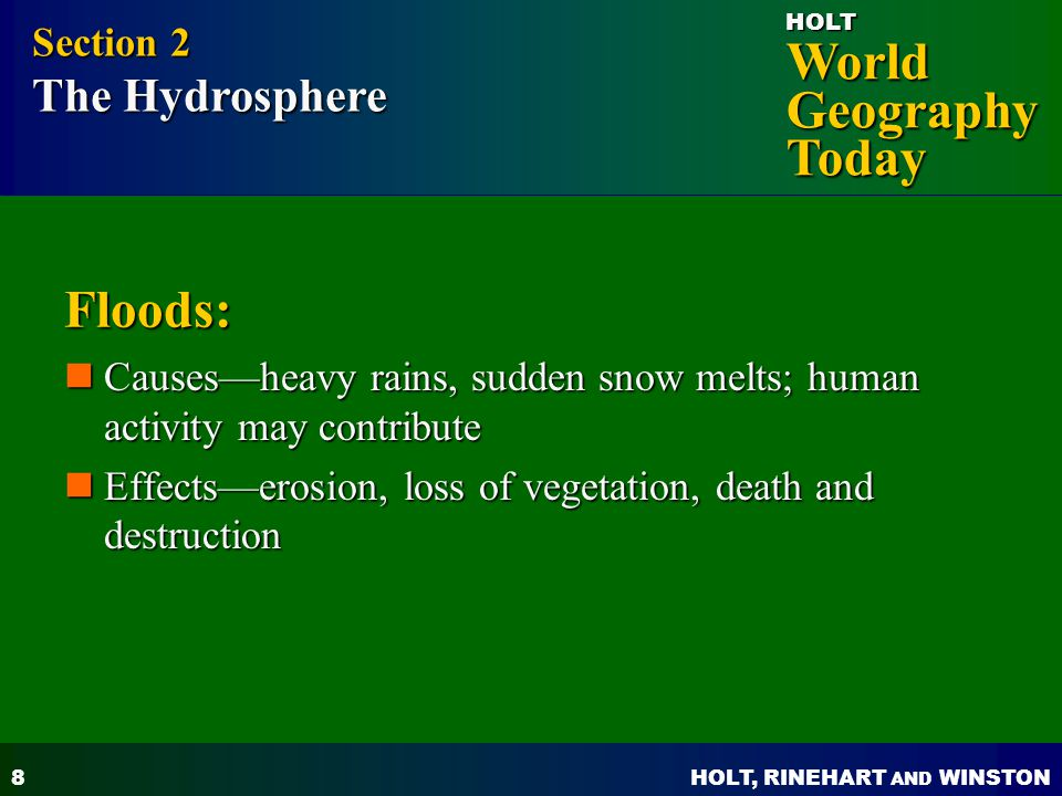 Floods: Section 2 The Hydrosphere