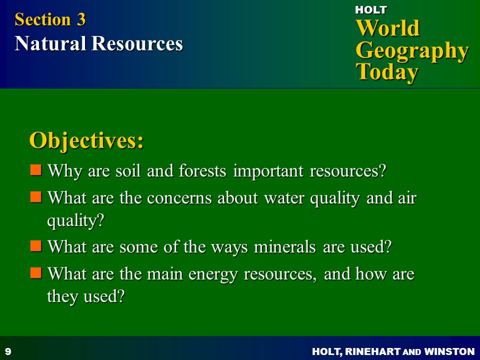 Objectives: Section 3 Natural Resources