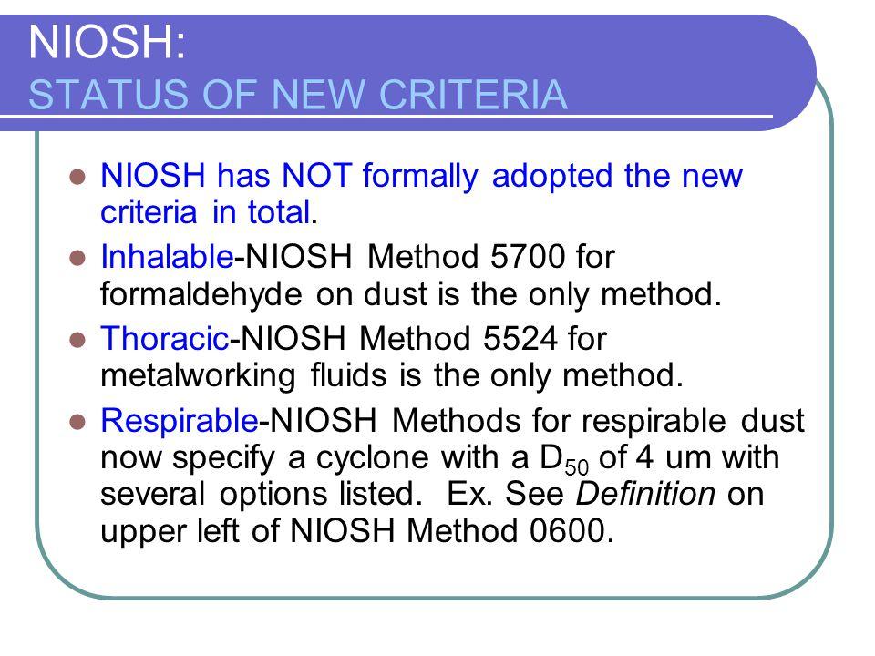 NIOSH: STATUS OF NEW CRITERIA