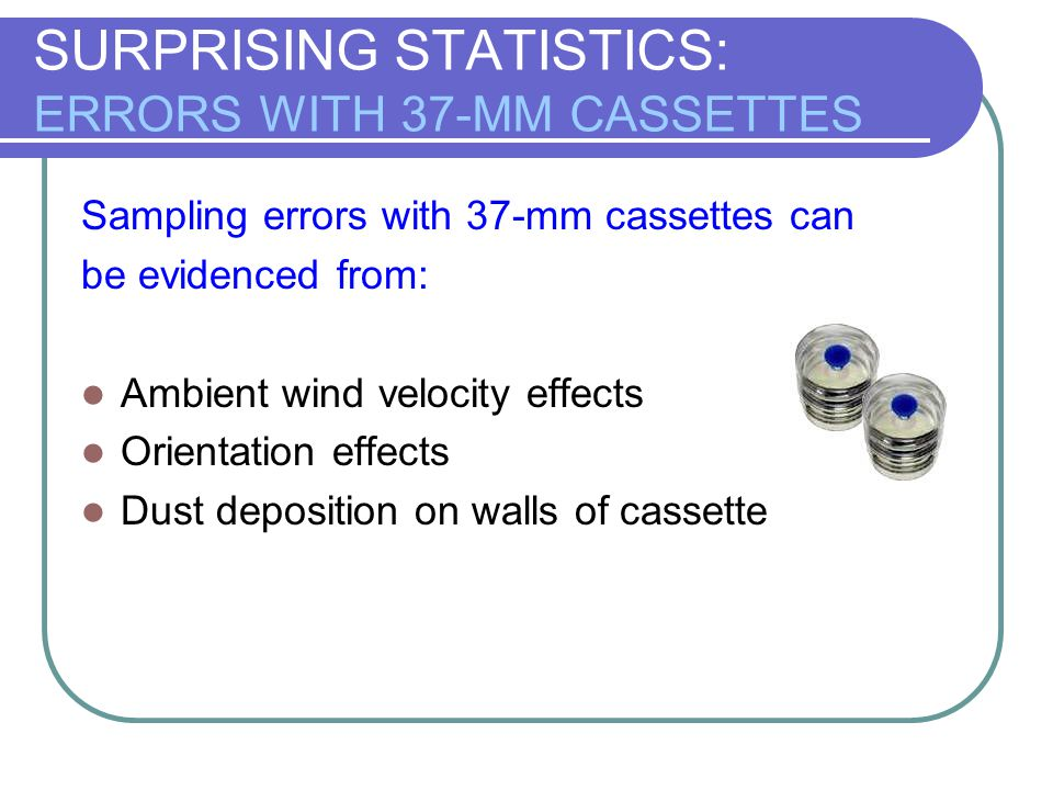 SURPRISING STATISTICS: ERRORS WITH 37-MM CASSETTES