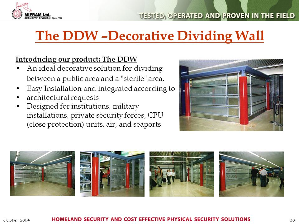The DDW –Decorative Dividing Wall