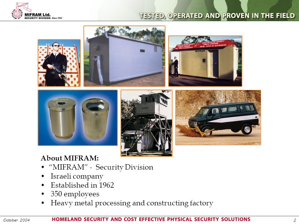 MIFRAM - Security Division Israeli company Established in 1962