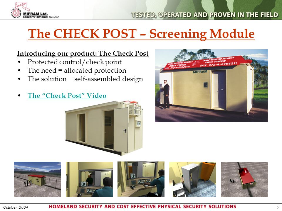 The CHECK POST – Screening Module