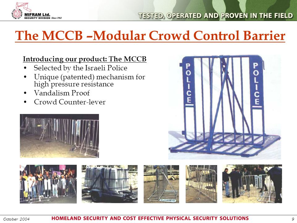 The MCCB –Modular Crowd Control Barrier