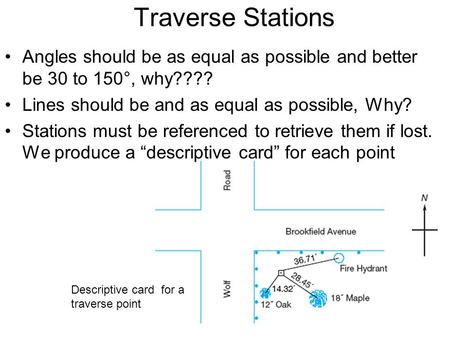 Traverse Stations Angles should be as equal as possible and better be 30 to 150°, why Lines should be and as equal as possible, Why
