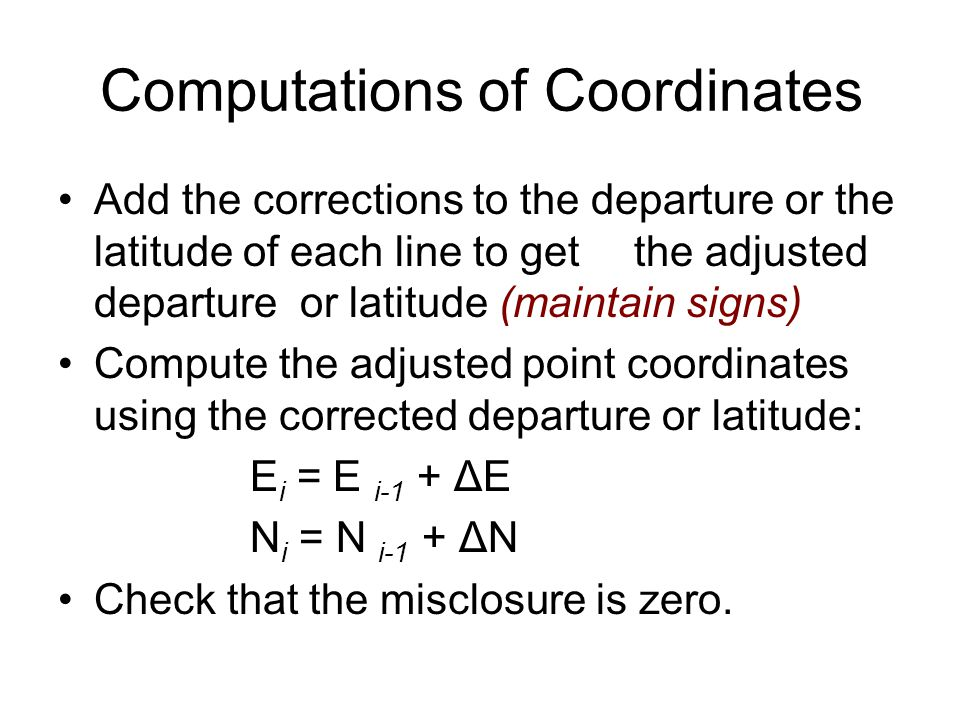 Computations of Coordinates