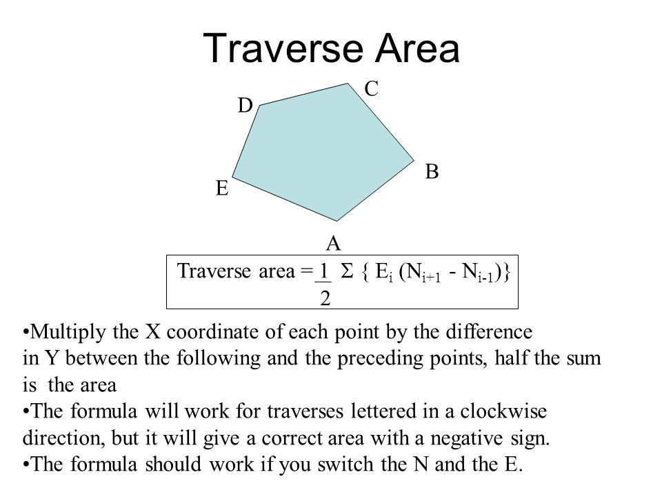 Traverse Area C D B E A Traverse area = 1 S { Ei (Ni+1 - Ni-1)} 2