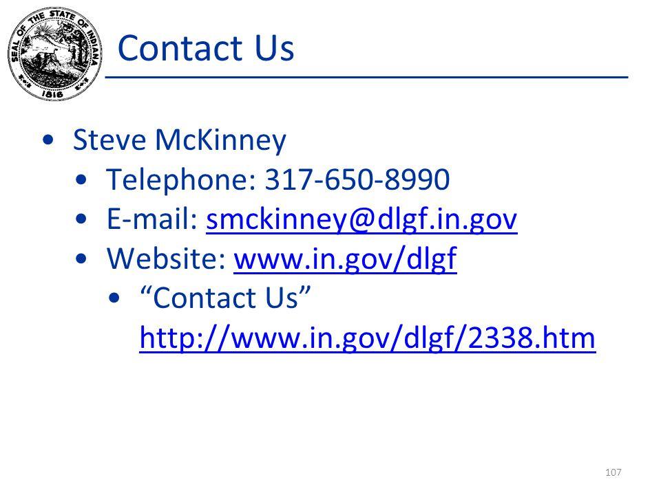 Contact Us Steve McKinney Telephone: 317-650-8990