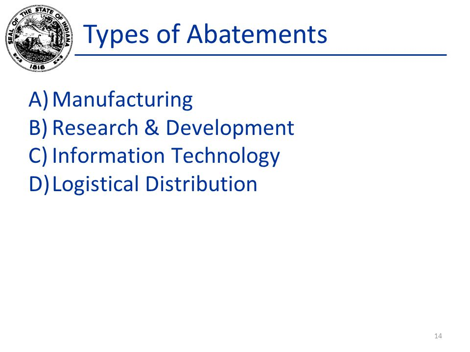 Types of Abatements Manufacturing Research & Development