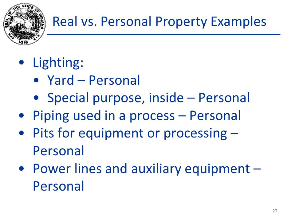 Real vs. Personal Property Examples