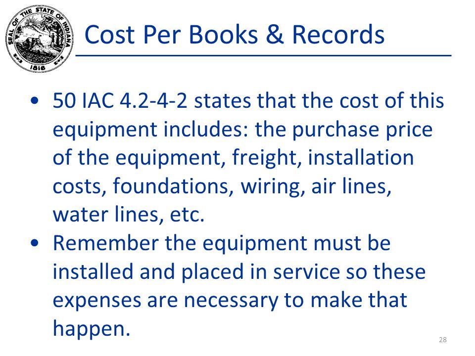 Cost Per Books & Records