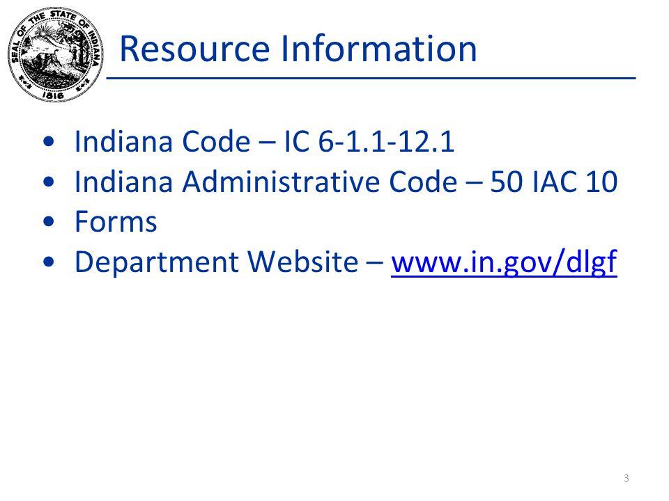 Resource Information Indiana Code – IC 6-1.1-12.1