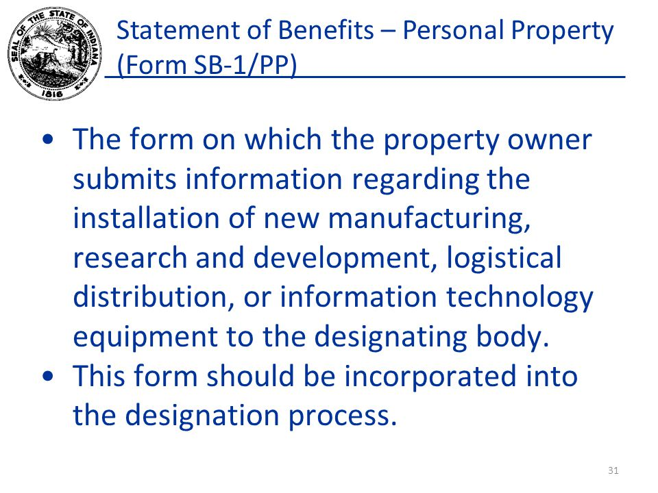 Statement of Benefits – Personal Property (Form SB-1/PP)