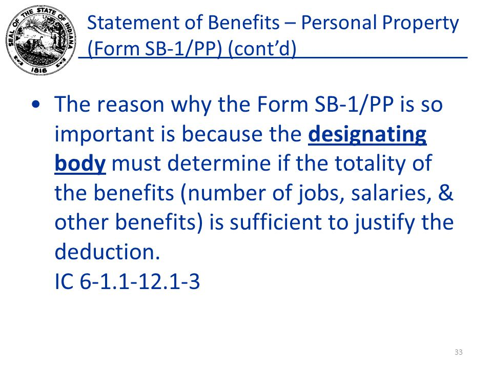 Statement of Benefits – Personal Property (Form SB-1/PP) (cont'd)