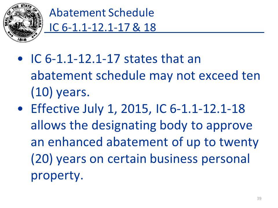 Abatement Schedule IC 6-1.1-12.1-17 & 18