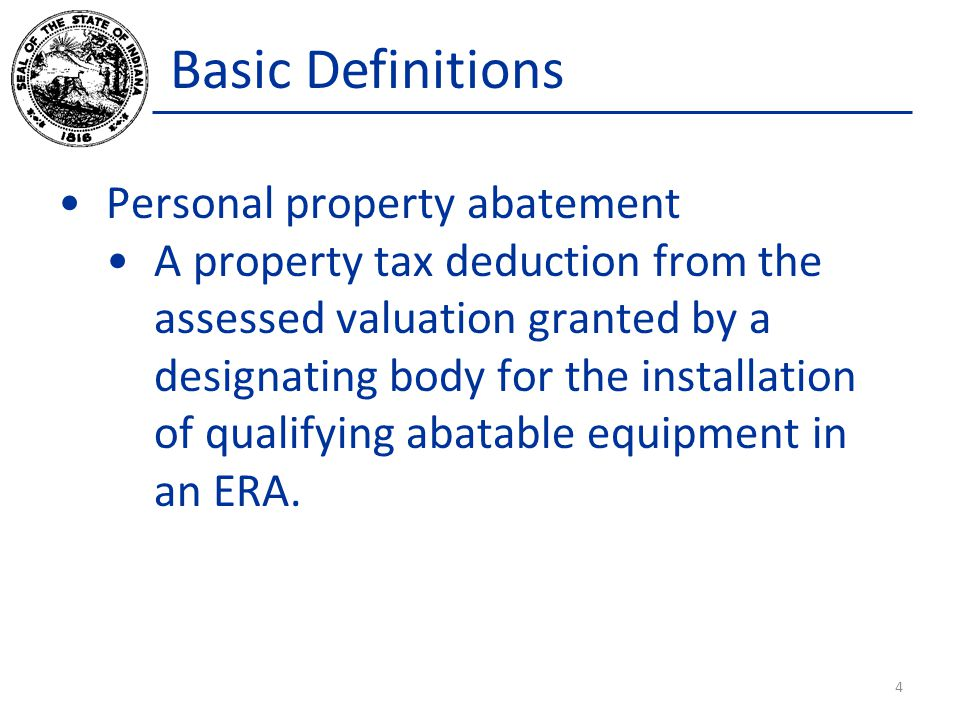 Basic Definitions Personal property abatement