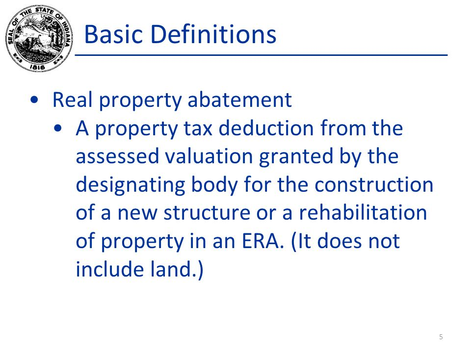 Basic Definitions Real property abatement