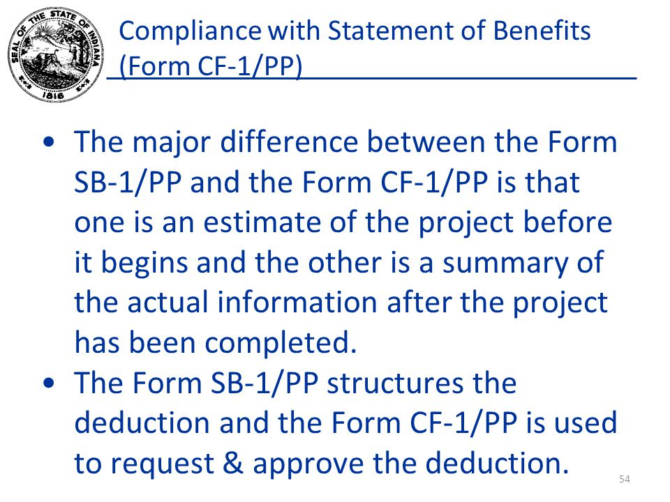 Compliance with Statement of Benefits (Form CF-1/PP)
