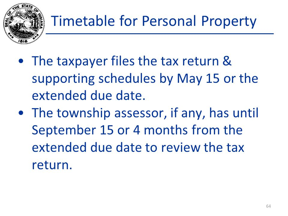 Timetable for Personal Property