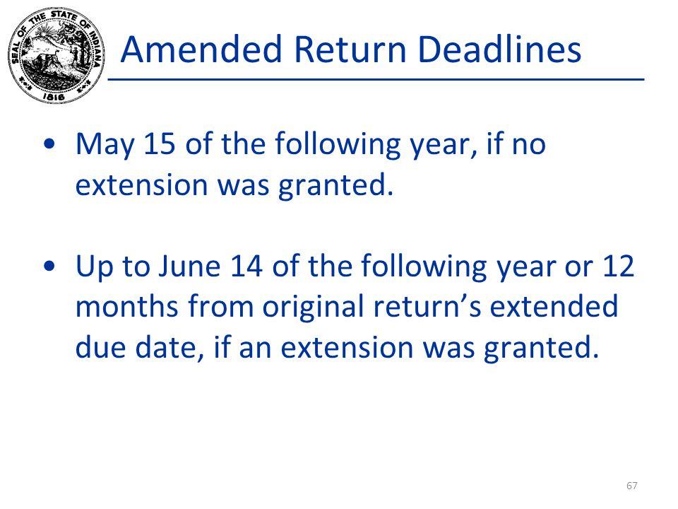 Amended Return Deadlines