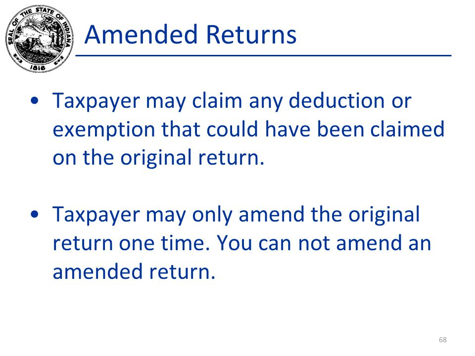 Amended Returns Taxpayer may claim any deduction or exemption that could have been claimed on the original return.