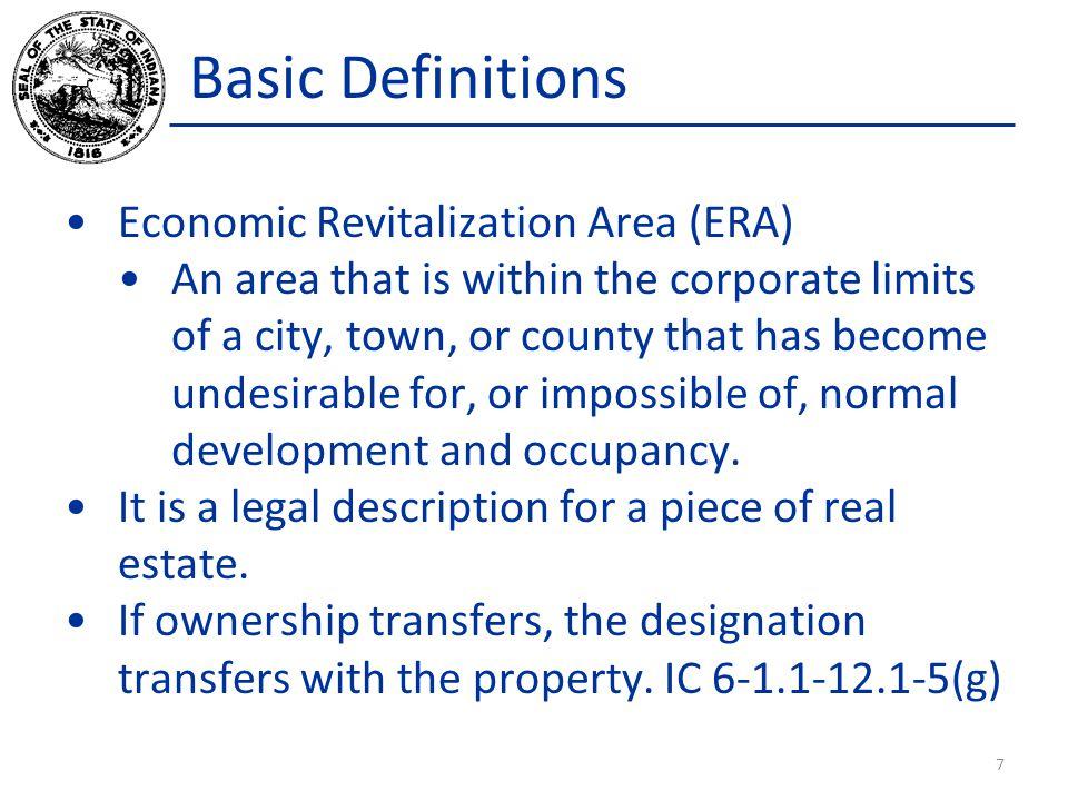 Basic Definitions Economic Revitalization Area (ERA)