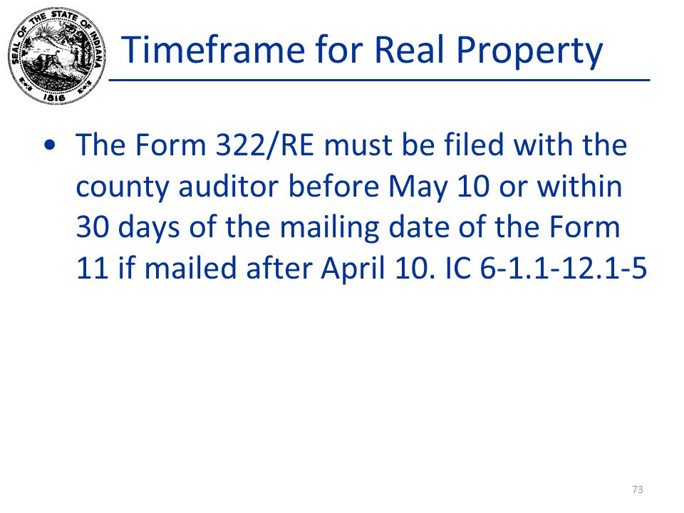 Timeframe for Real Property